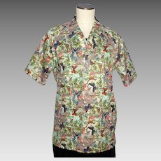Vintage 1970s Lilly Dache Shirt Polyester Bird and Butterfly Print