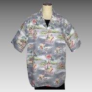 Vintage Hawaiian Print Shirt Evergreen Island Made in Hawaii
