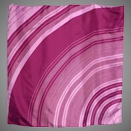 Vintage Schiaparelli Silk Scarf Curved Linear Print Plum and Pink