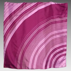 Vintage Schiaparelli Silk Scarf Curved Linear Print Plum and Pink