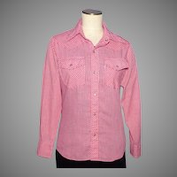 Vintage 1970s Levis Panatela Tops Shirt Red and White Checkered Gingham