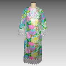 Vintage 1970s Lilly Pulitzer Maxi Dress Floral Print Lace Trim