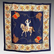 1990s Mantero Silk Scarf Exotic Horse and Rider Paisley Equestrian Print