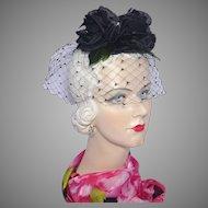 Vintage 1960s Skol Nips Whimsy Hat Black Dahlias