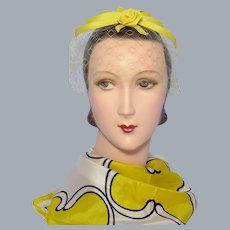 Vintage 1960s Yellow Rosebud Whimsy Hat