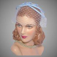 Vintage 1960s Blue Ribbon Whimsy Hat