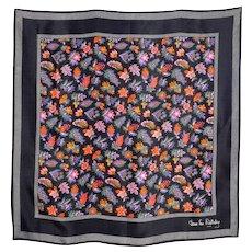 736afe68fef2 Vintage 1980s Diane Von Furstenberg Black Silk Scarf Floral Print