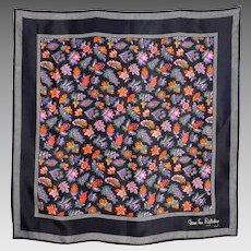 Vintage 1980s Diane Von Furstenberg Black Silk Floral Print Scarf