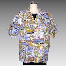 1990s Pacific Legend Route 66 Print Cotton Shirt Made in Hawaii