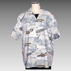 1990s Vietnam War Airplane and Helicopter Print Shirt Kalaheo Made in Hawaii USA