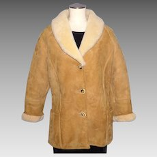 Vintage 1970s Shearling Suede Coat Jacket Knight Tailors New Zealand Ladies Size 14
