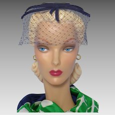 Vintage 1960s Whimsy Hat Navy Blue Grosgrain Ribbon Halo