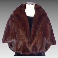 Vintage 1960s Mink Fur Stole Brown Ranch Cape Shoulder Wrap Stole