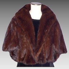 Vintage 1960s Mink Fur Stole Brown Ranch Cape Shoulder Wrap Stole