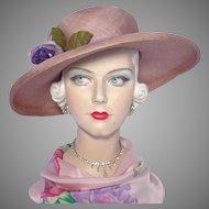 Vintage 1970s Mauve Woven Straw Picture Hat Wide Brim Originals by Geri Silk Peony Flower