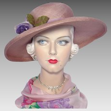 Vintage 1970s Mauve Woven Straw Picture Hat Wide Brim Originals by Geri Silk Peony Flower