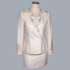 1990s Escada White Wool Suit Floral Cross Stitch Embroidery