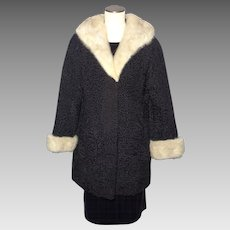 Vintage 1960s Black Persian Lamb Stroller Coat Mink Collar and Cuffs Size 8