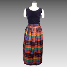Vintage 1970s Ellen Tracy Maxi Skirt Plaid Taffeta Wrap Style