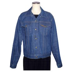 Vintage 1970s Saddle King Western Denim Jacket Made in USA Size 44 REG