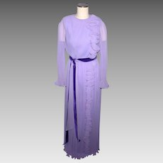 Vintage 1970s Miss Elliette Lilac Pleated Evening Gown