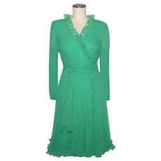 Vintage 1970s Miss Elliette Green Chiffon Cocktail Dress Size 8