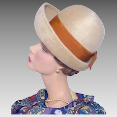 Vintage 1960s Beige Fur Felt Breton Hat by Winner Original Orange Ribbon Bow Detail
