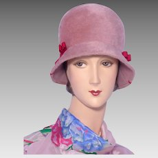 Vintage 1960s Cloche Style Hat by Dana Marte Rose Fur Felt