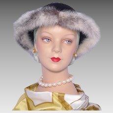1990s Mr John Jr Black Wool Hat  Genuine Cross Mink Fur