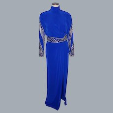 1990s Evening Gown Carol Kaplan Royal Blue With Silver Beads and Sequins