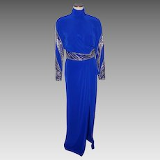 1990s Formal Evening Gown Carol Kaplan Royal Blue With Silver Beads and Sequins