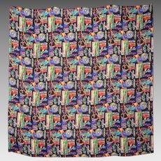 Nicole Miller Hot Wheels Novelty Print Silk Scarf Wrap 1994