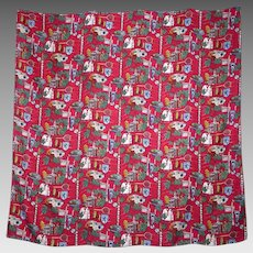 Nicole Miller Exeter Silk Scarf Novelty Print Wrap Crimson Red and White 1994