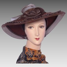 1990s Wide Brim Hat Mr Hi's Classic Brown Wool Felt