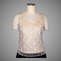 Vintage 1960s Sequin Beaded Shell Top Sweater Cream Colored Wool
