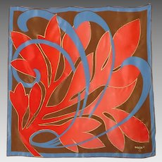 Vintage 1980s Maxims Paris Silk Scarf Abstract Leaf Design