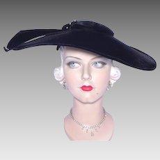 Vintage 1950s Franklin Simon Black Velvet Platter Hat