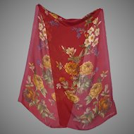 1990s Laura Ashley Floral Silk Scarf Made in Japan
