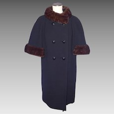 Vintage 1960s Dan Millstein Black Wool Coat Cape Style Mink Fur Trim