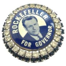 Warner signed Political Brooch for Rockefeller