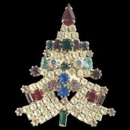 Signed Atruia Vintage Christmas Tree Brooch