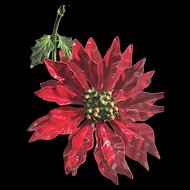 Fabulous Christmas Poinsettia Enamel Brooch