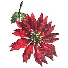 Fabulous Christmas Poinsettia Enamel Brooch