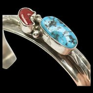 Native American Sterling, Coral and Turquoise cuff/bracelet