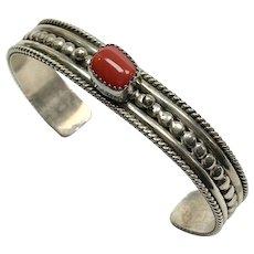 Native American Sterling Coral Bracelet