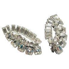 Rhinestone Clip Earrings silver tone metal