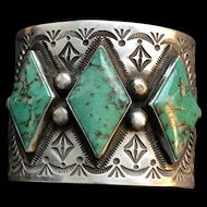Spectacular Native American Turquoise Cuff Signed by Henry Sam