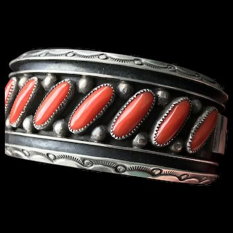 Native American  Coral Cuff Signed JS