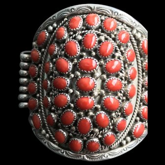 Striking Native American Coral Cuff Signed