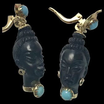 Corletto 18k Gold and Turquoise, Coral Blackmoor Earrings